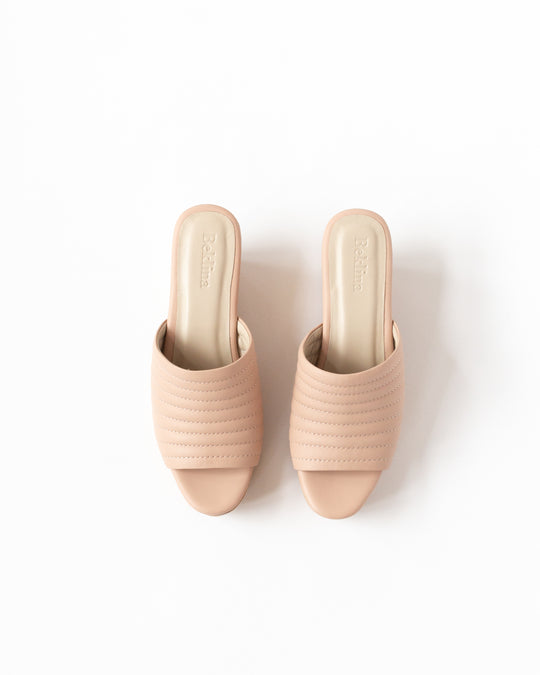 Ribbed Open Toe Clog in Nude