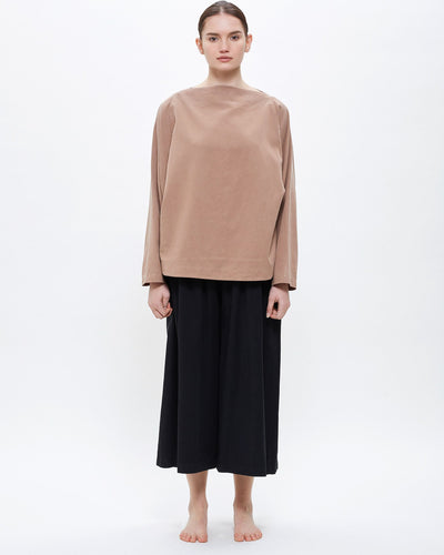 Folded Neck Top in Camel