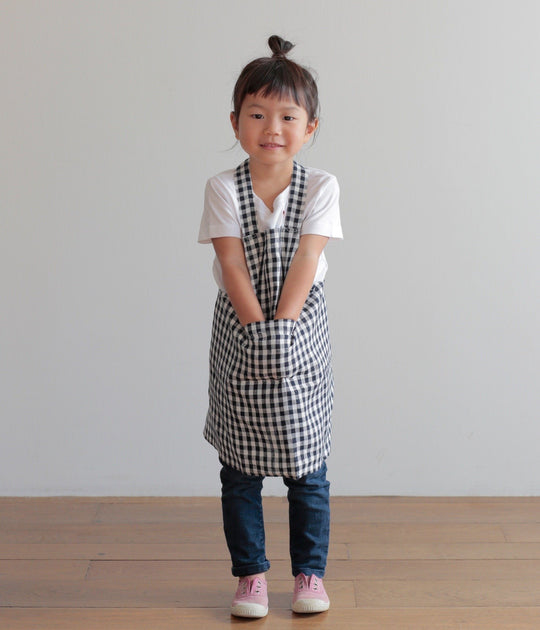 Children's Apron in Navy/White Check