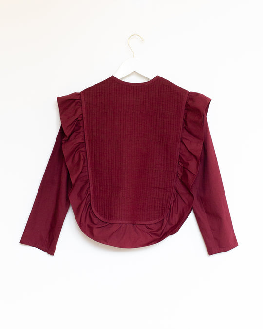Beatrice Top in Burgundy Quilted Cotton