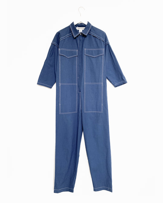 Farrah Jumpsuit in Indigo Cotton/Linen