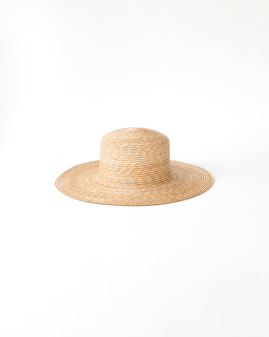 Medium Brim Flat Top Hat in Natural