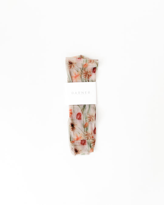 Cream Floral Mesh Socks