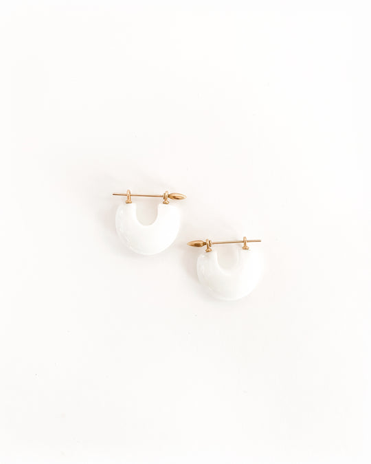 Arch Earring in Carrara Marble/22k Gold