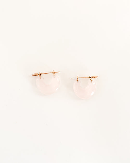 Arch Earring in Rose Quartz/14k Rose Gold