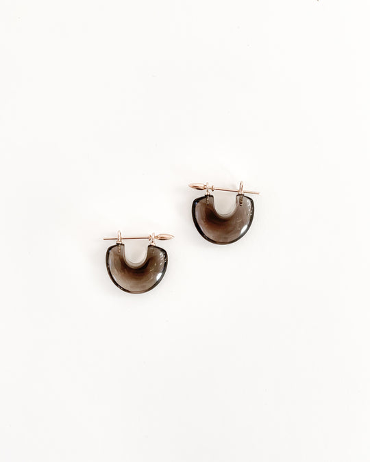 Arch Earring in Smoky Quartz/18k Brown Gold