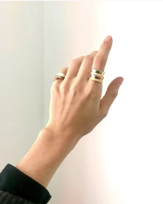 Flared Bi Metal Ring in 14k Rose Gold/22k Yellow Gold