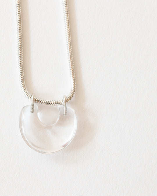 Arch Necklace in Rock Quartz/Sterling Silver