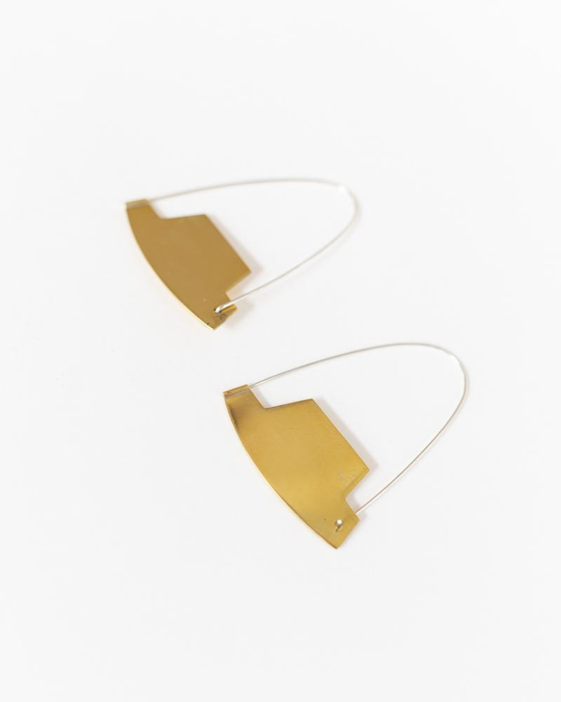 Arch Hoop Earrings in Brass