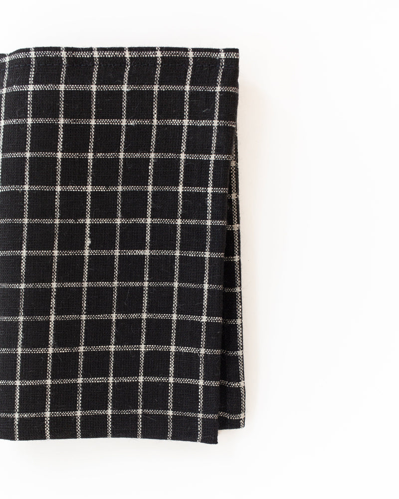 Linen Kitchen Cloth in Black Plaid