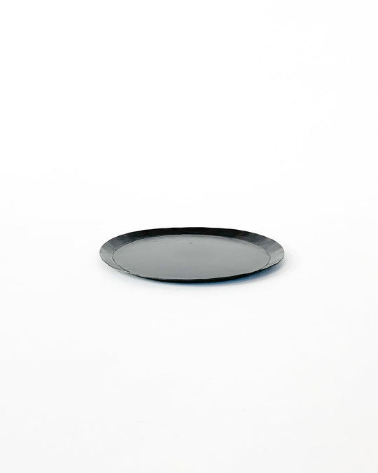 Medium Round Metal Tray in Black