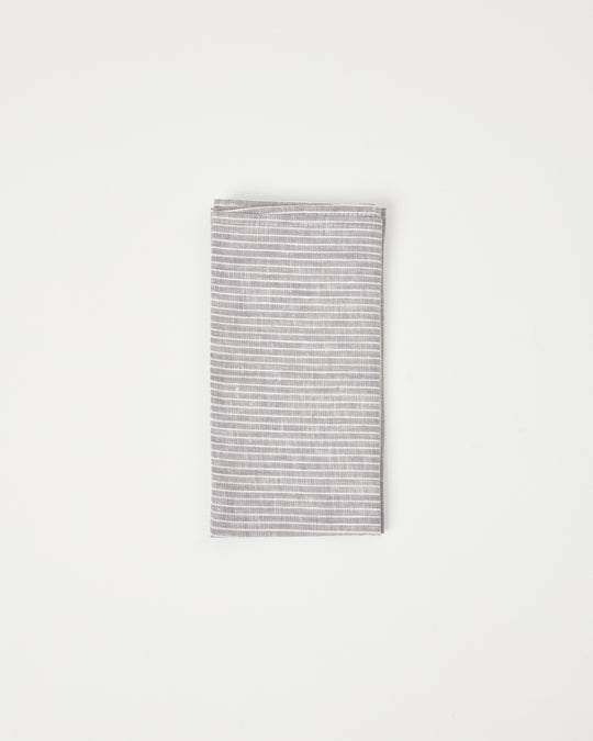 Linen Napkin in Grey/White Stripe