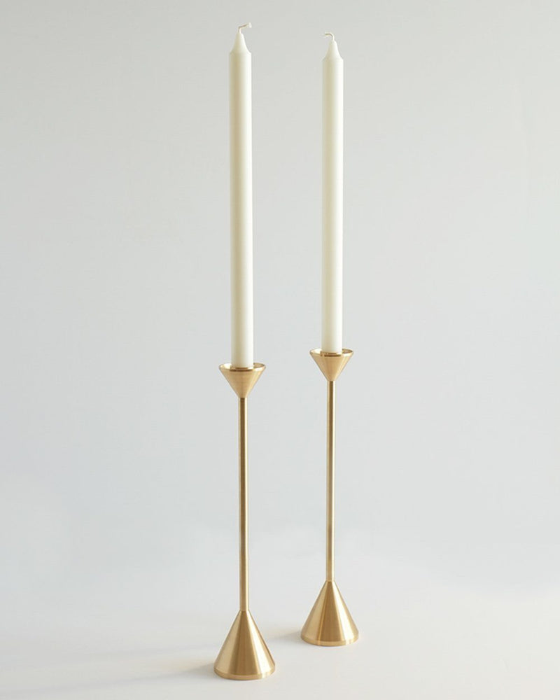 Brass Cone Spindle Candle Holders