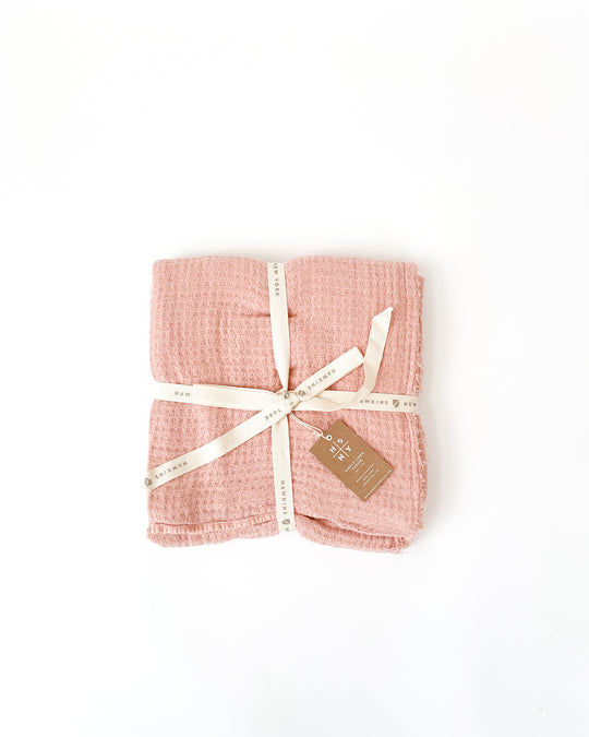 Simple Linen Throw in Blush