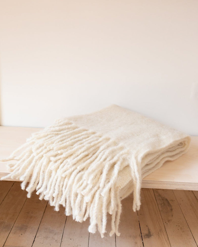 Simple Mohair Throw in Ivory