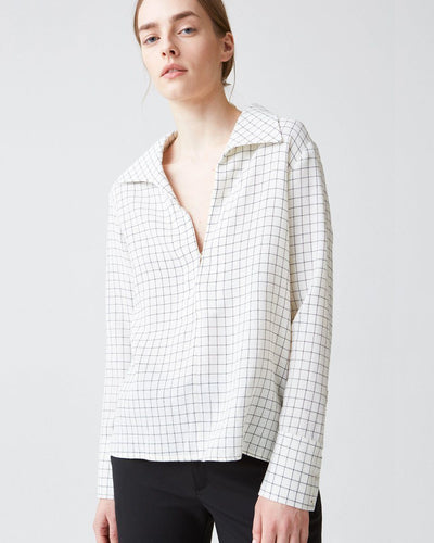 Maxi Shirt in Off White Check