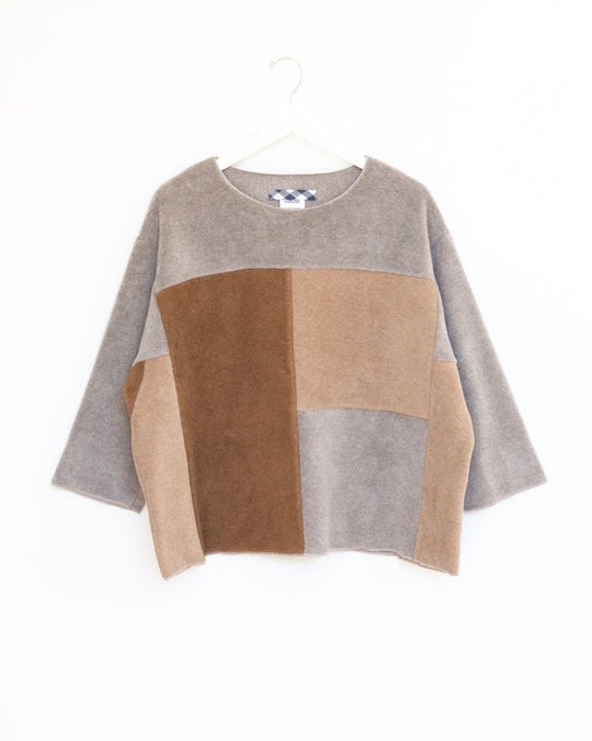 Jane Patchwork Top in Neutral Color Block