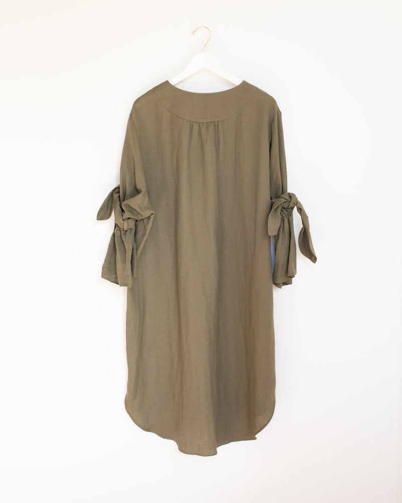 Lin Dress in Olive Moss