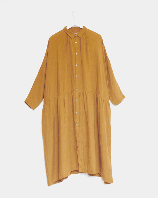 Color Linen Dress in Camel