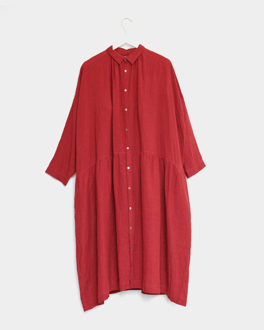 Color Linen Dress in Red