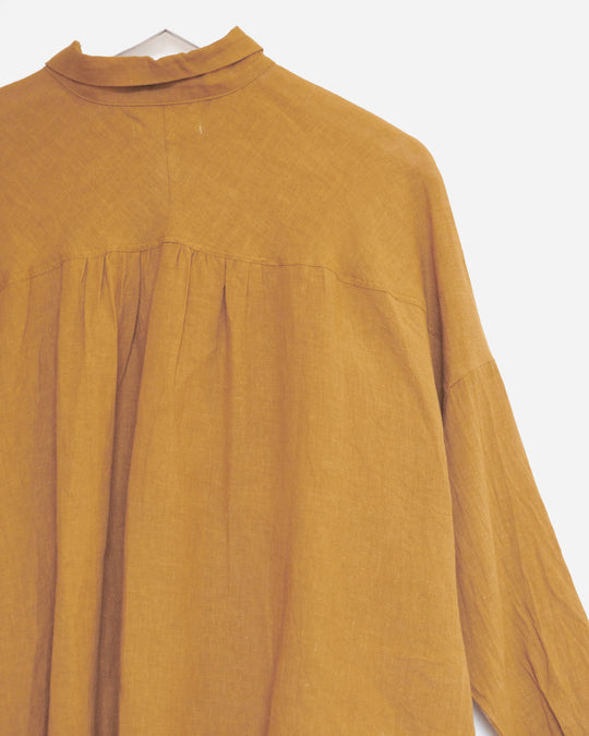 Color Linen Shirt in Camel
