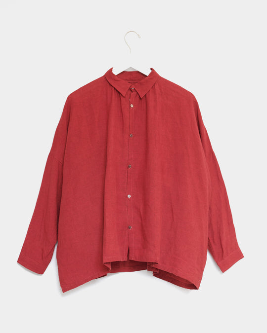 Color Linen Shirt in Red