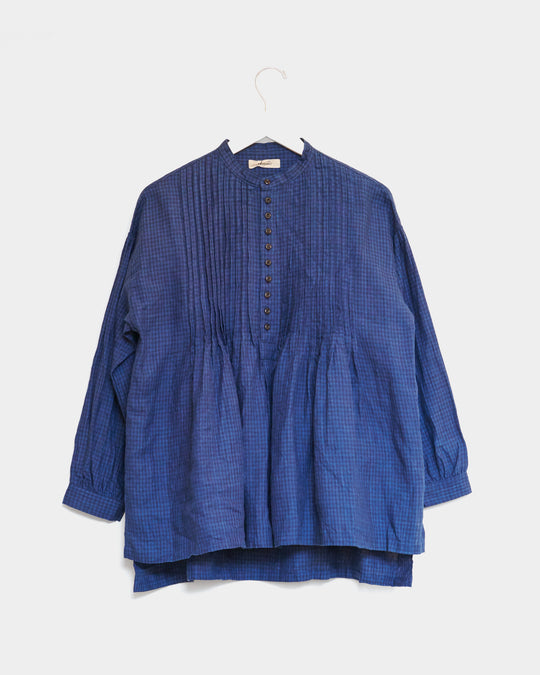 Linen Indigo Shirt in Gingham