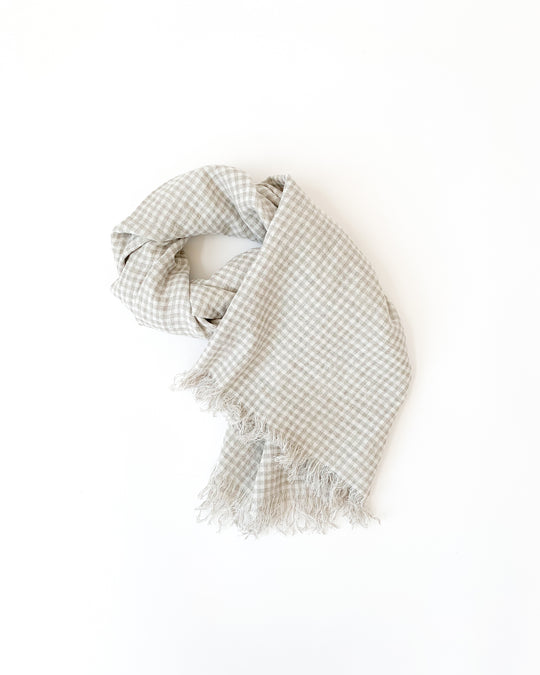 Boil Washer Gingham Stole in Natural