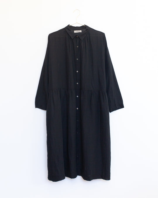 Cotton Linen Dress in Black