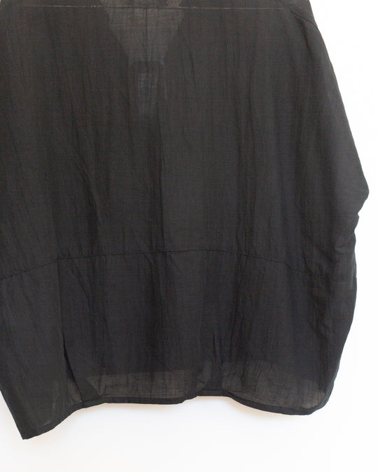 Cotton Linen Pullover in Black