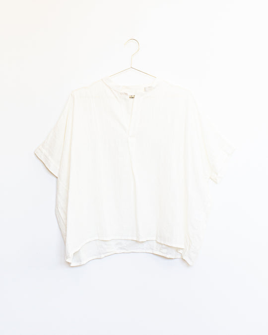 Cotton Linen Pullover in White