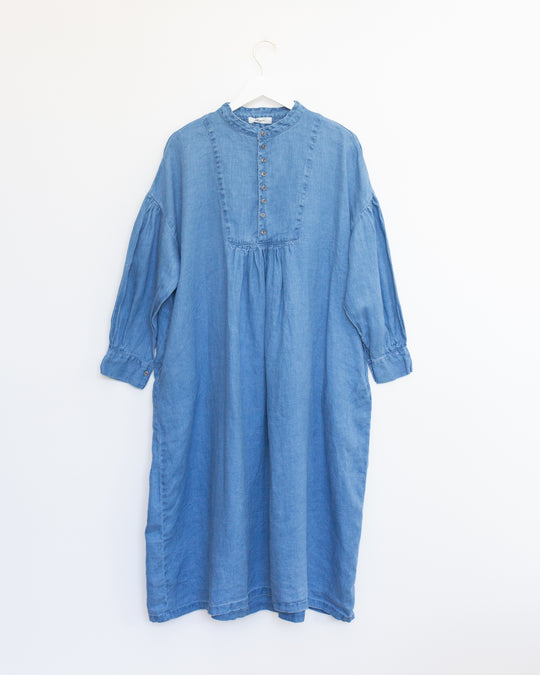 Indigo Bleach Yoke Dress in Light