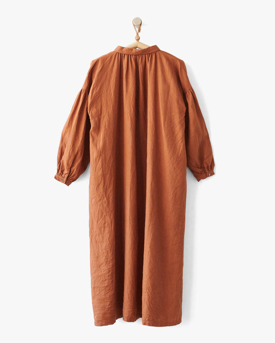 Linen Collar Dress in Camel