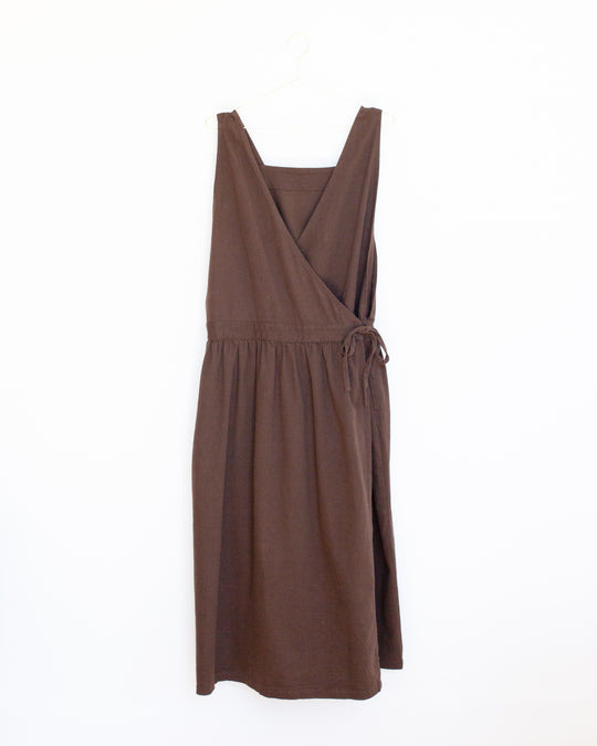 Linen Apron Dress in Brown
