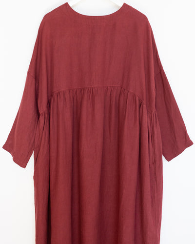 Linen Viyella Dress in Red