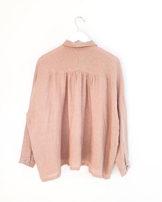Linen Shirt in Smoky Pink