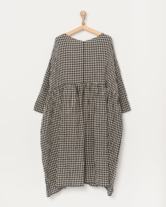 Cotton Wool Gingham Dress in Natural/Black