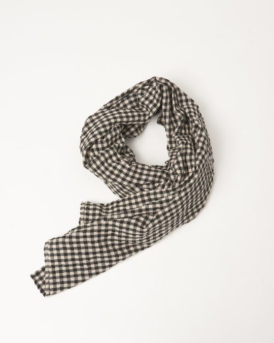 Cotton Wool Gingham Stole in Natural/Black