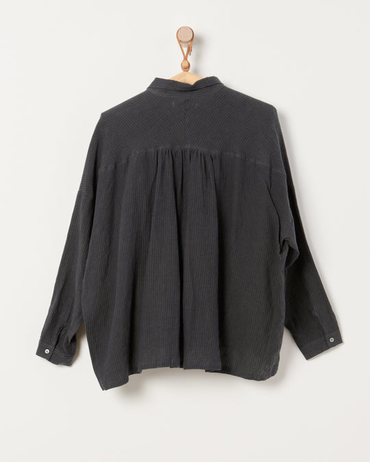 Linen Azumadaki Shirt in Black Stripe