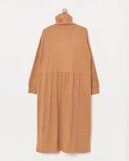 Wool Turtleneck Dress in Camel