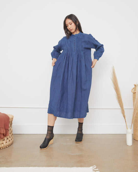 Linen Indigo Dress in Gingham