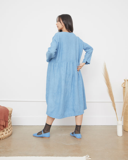 Linen Dress in Indigo Blue