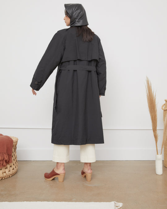 High Neck Trench Coat in Black