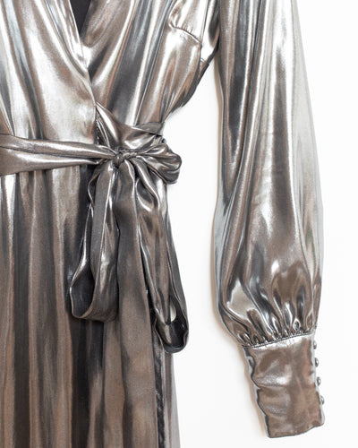 Adelaide Midi Wrap Dress in Silver