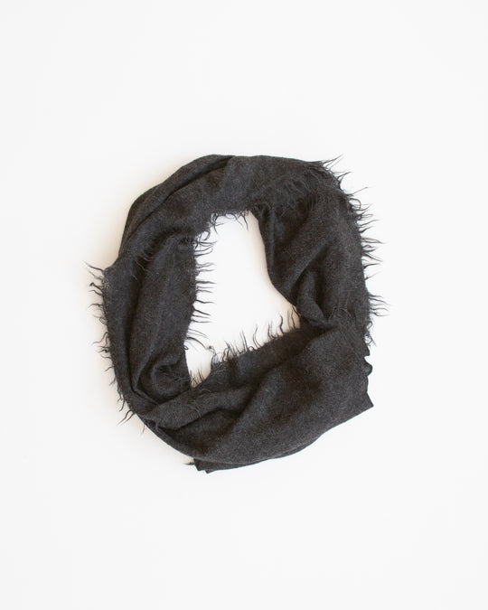 Fringe Scarf in Black Melange