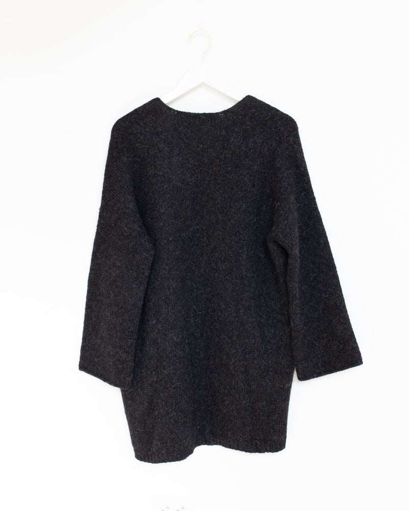 Open Cardigan in Black Melange