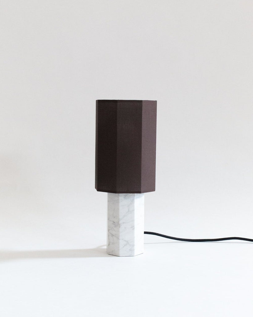 Small White Marble Table Lamp At Land