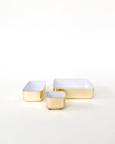Large Tray in Brass and White