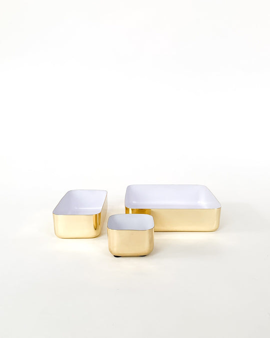 Medium Tray in Brass and White