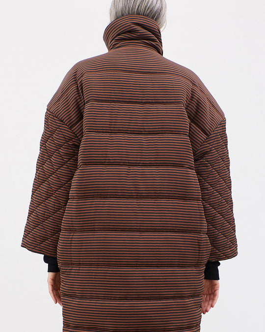 Frances Coat in Black/Brown Espresso Stripe